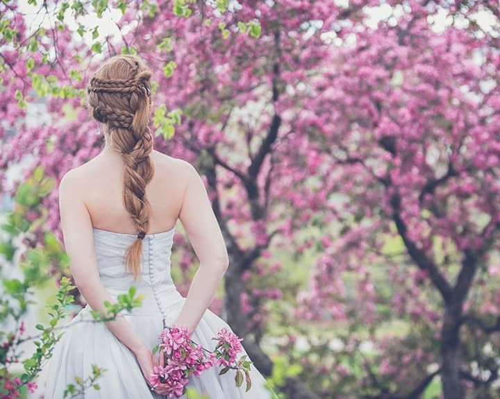 Bride Outside In Spring