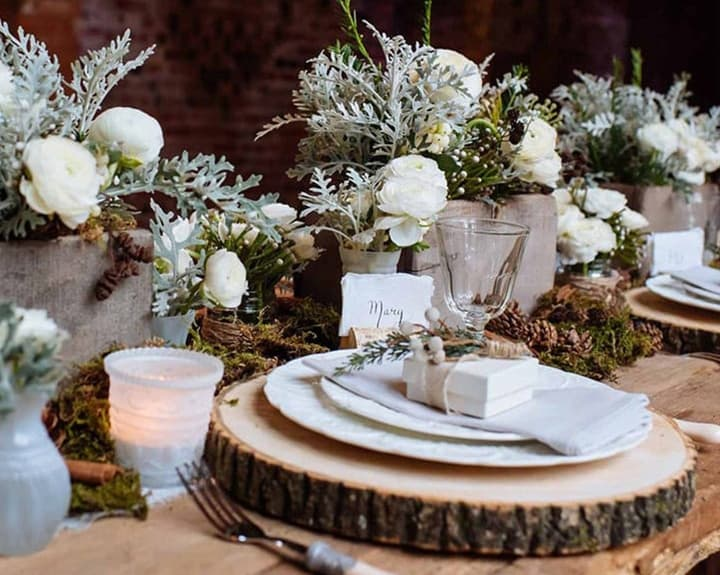 Wooden Tree Slice Wedding Centerpiece